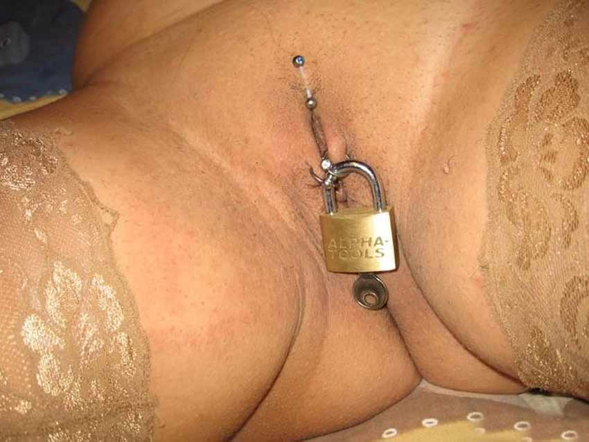 Padlocked pussy piercings are